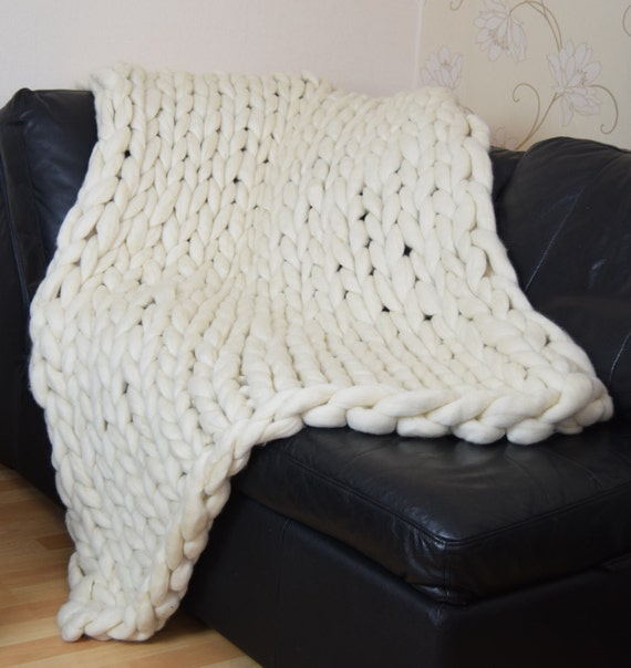 Super Chunky Knit Blanket Pattern : Super Chunky stitch blanket chunky knit blanket natural