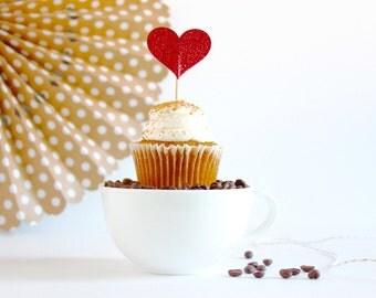 12 Red Glitter Heart Valentine's Day Cupcake Cake Topper