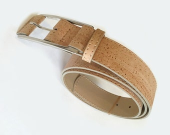 Cork belt stainless steel buckle