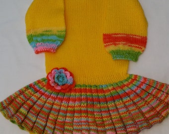 Girl's knitted dress (3-4y) with pleats