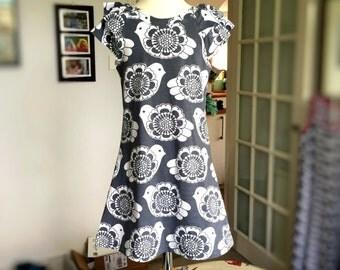 Organic cotton grey dove dress, girls flutter sleeve dress