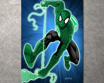 FREE SHIPPING!!! Spiderman Spider Lantern Metal Print Illustrated by Jacob Bear
