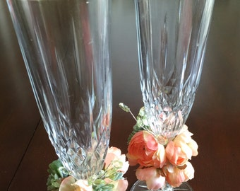 Toasting Wedding Vintage/Antique Glasses decorated with your colors