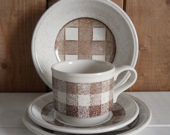 1980s Biltons Gingham Breakfast Set - Cup, Saucer, Plate & Bowl