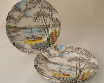 Pretty Pair of Vintage 1950s Side Plates 'Holiday' Pattern by W.H.Grindley & Co
