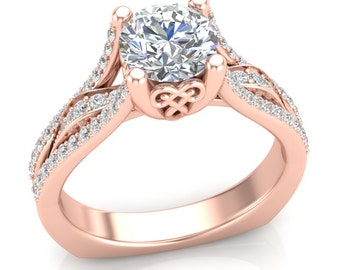 Rose Gold Engagement Ring Moissanite Engagement Ring Forever One Round Moissanite with .40ct Round Diamonds Brand New 14K Complete