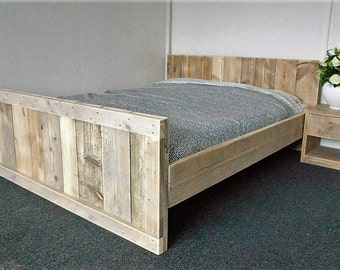 Handmade Chunky Rustic Wooden Bed Reclaimed Clear Finish