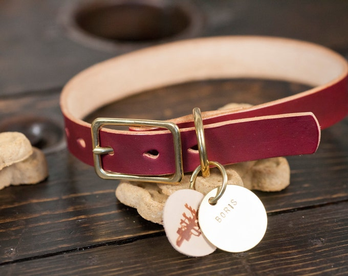 "3/4"" OxBlood Leather Dog Collar with Solid Brass Hardware - Custom Made to Order"