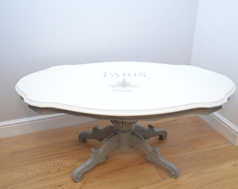 French inspired Shabby Chic Vintage Coffee Table (White/Grey)