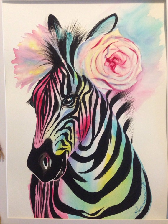 Colorful Zebra Print Nail Art Tutorial: Colorful Rainbow Zebra With Light Pink Rose Flower Crown