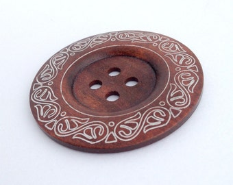 1 Extra Large Wood Button, 6cm (2 3/8 Inch) - Large Wooden Button -  Decorative (RM6001H) 1 Piece