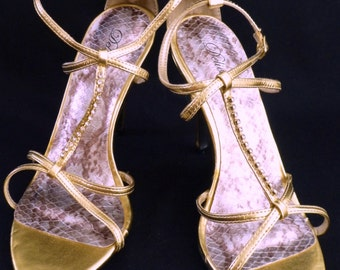 """FREE SHIPPING""""Delicious"""" Metallic Gold Ankle T-Strap Rhinestone 7"""