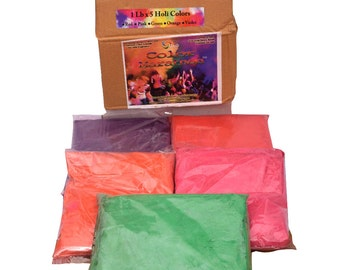 Colormarathon® Premium Quality Holi Color Powder - 5 Colors X 1 Lb Each, Total 5 Lbs