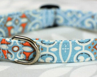 Aqua & Tangerine Dog Collar / Size LARGE / Ready To Ship