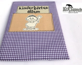 vichy karo, fabric album-cover, little album boy, minialbum, nursery, unikat album-gift, german handmade, kind album cloth, photoserie,