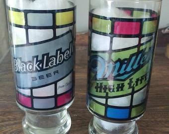 Vintage beer glasses-Carling Black Label & Miller High Life