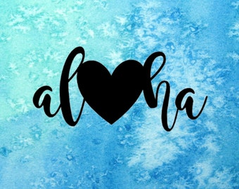 Aloha Heart Sticker ~ Hawaii Sticker ~ Heart Sticker ~ Hawaii Decal ~ Aloha Heart Decal ~ Aloha Love Decal ~ Show Aloha Decal
