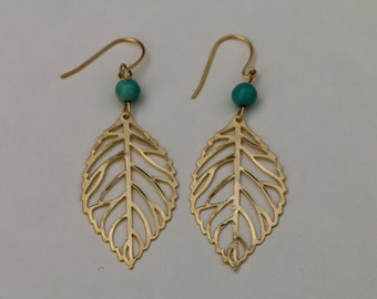 Gold Leaf Earrings with Blue Howlite Bead