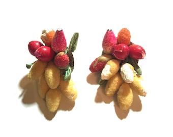 Vintage chippy fruit clip on earrings