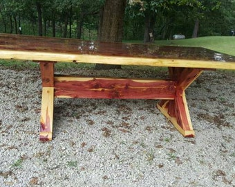 Cedar Table, X Frame Dining Table, Cedar Dining Table, Picnic Table, Farm Table, Live Edge, Outdoor Table