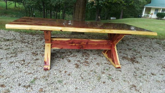 Cedar Table X Frame Dining Table Cedar Dining Table Picnic