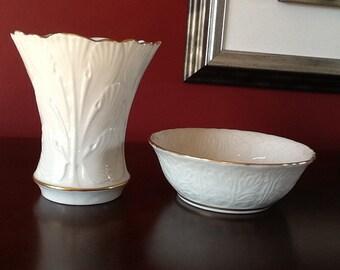 Vintage Lenox Vase and Dish