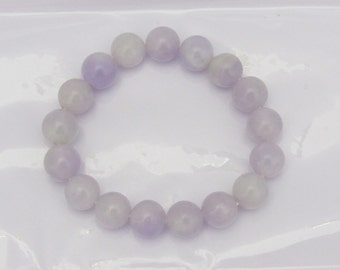 Vintage Translucent Natural Purple Lavender Jadeite Jade Bracelet 10MM