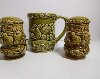 Vintage Ceramic 1960s Avocado Green Salt + Pepper Shakers Set + Mug - Made in JAPAN