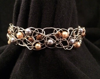 Copper,grey, cream bead crocheted bracelet