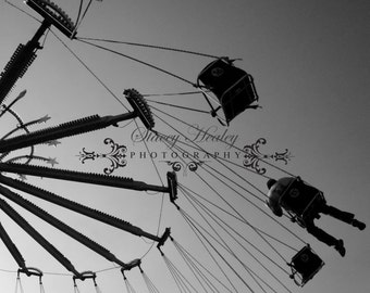 "Carnival swing 8x10 matted in 11x14. ""Fun at the Fair"" Black and white"