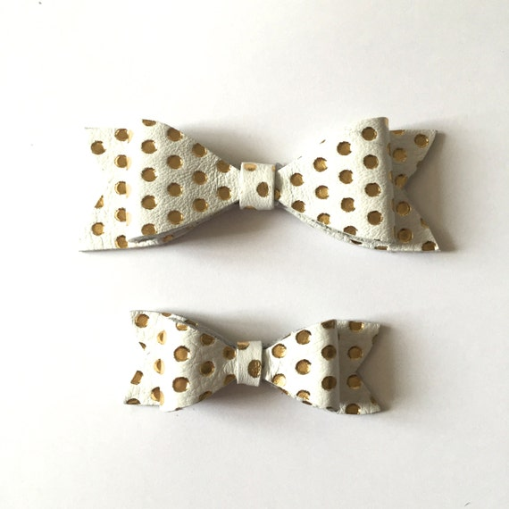 Handmade Gold Polka Dot Leather Bow