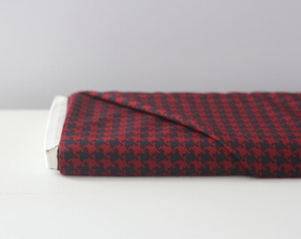 Navy and Red Houdstooth By The Yard