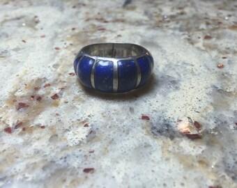 Vintage Old Pawn 950 Lapiz Inlay Ring Size 9