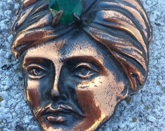 Vintage Copper Plated Genie Head Brooch