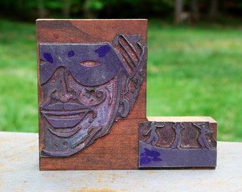 Vintage Letterpress Printing Block featuring MASKED MAN & DANCERS, Masquerade, Type and Presses, Stamps, Crafts, Scrapbooking Supplies, Ink