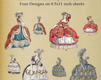 Marie Antoinette 18th Century Paper Doll Cutout - Digital Download Image Scrapbooking Digital Stamp Paper Decor