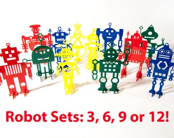 Robot Sets: 3, 6, 9 or 12  Retro Robot Art Sculptures - Choose your own designs, colors and receive discounts or a FREE Robot!