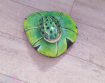 Hand painted rock frog and lillypad