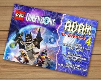 Lego Dimensions Invitation, Lego Dimensions birthday invitations, lego batman invitations, Lego Invitation, lego birthday invitation