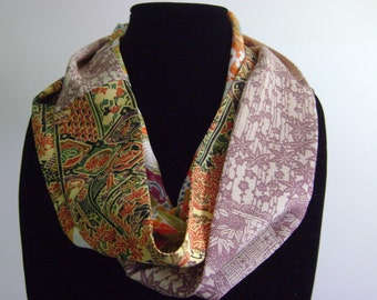 Long and Skinny Patchwork Kimono Silk Infinity Scarf in Bright Orange, Gold and Red Florals and Leaves