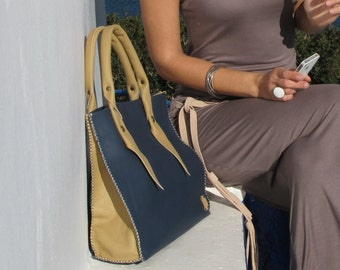 Handmade Tote Bag / Riviera / Bag / Hand Stitched Leather Bag / Tote bag / Handmade Bag / Large Bag