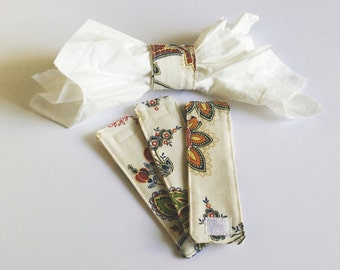 Cotton Fabric Floral Napkin Ring Sets, Matching Napkin Rings, Housewarming, Casual Dining