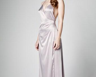 Bridesmaid Dress, Ball Dress, Formal Dress, Gray Maxi Dress, Full Lenght Dress, Backless Dress, Spaghetti Strap Dress, Evening Dress