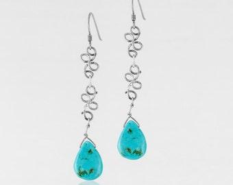 Turquoise Woven Teardrop Earrings
