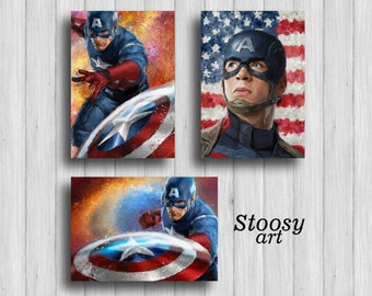 Captain America Wall Art captain america art | etsy
