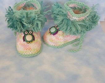 Owl Baby boots  Coming Home Outfit ,Baby booties owl, baby shoes, baby boots,baby slippers,baby gift, stay on, with ropes, with strings