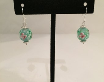 Green Lampwork Glass Bead with Pink Flower Earrings