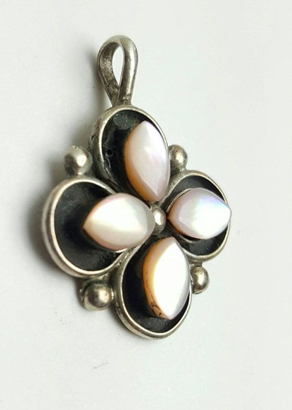 Vintage Sterling Silver Pink Moonstone Flower Pendant-Signed