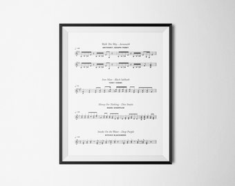 A4 Music Poster with famous guitar riffs perfect housewarming gift ,birthday gift or for your own interior  Digital File Download