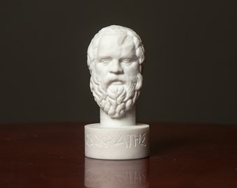 Bust of philosopher Socrates  statue carved Greek marble figurine